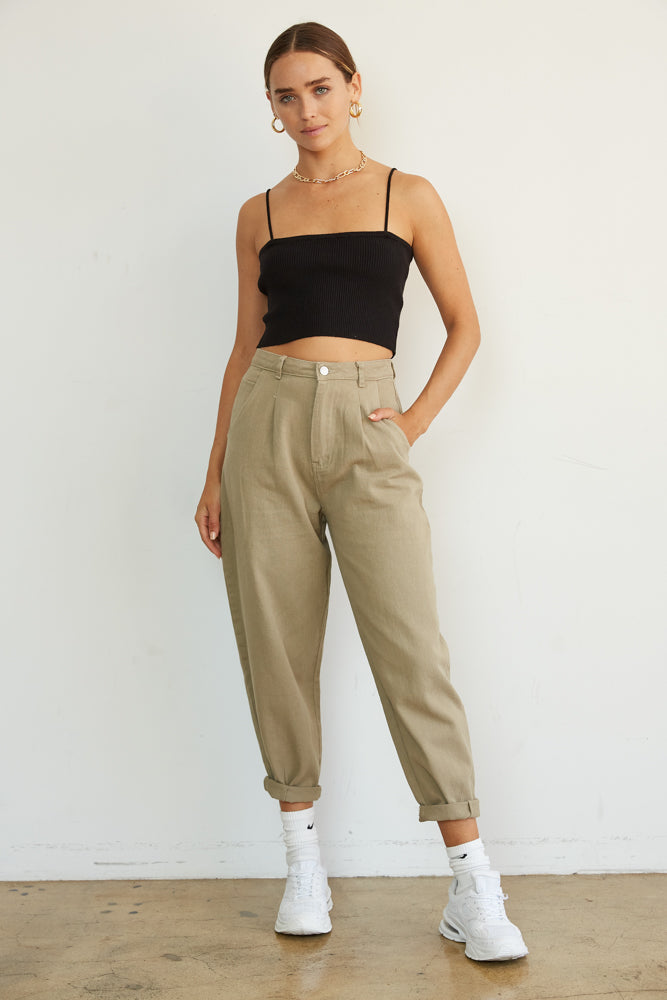 Olive high waisted denim trousers.