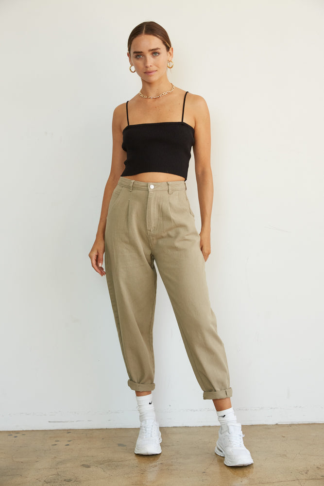High waisted pants with wide leg silhouette and denim like fabric.