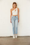 Light wash slim jeans with white crop tank.