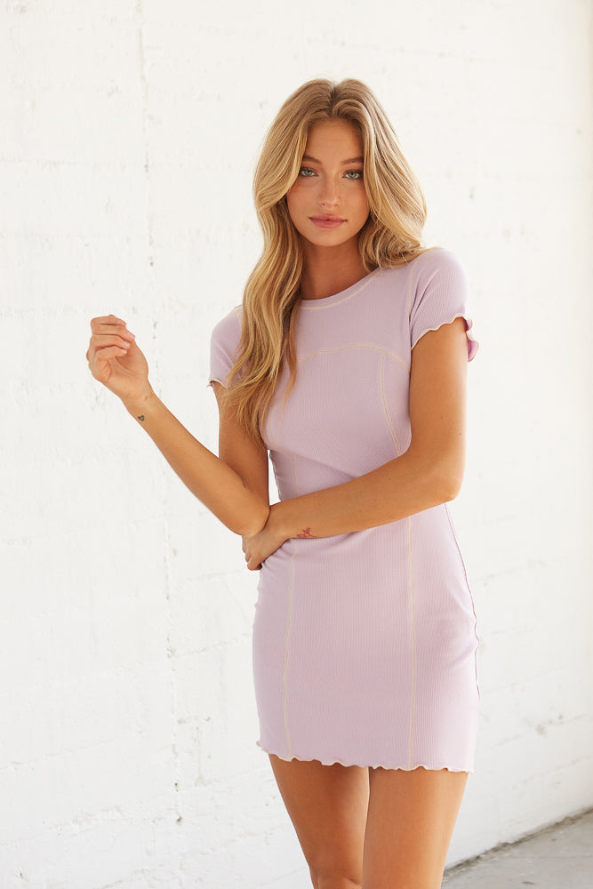 Lilac mini t-shirt dress.