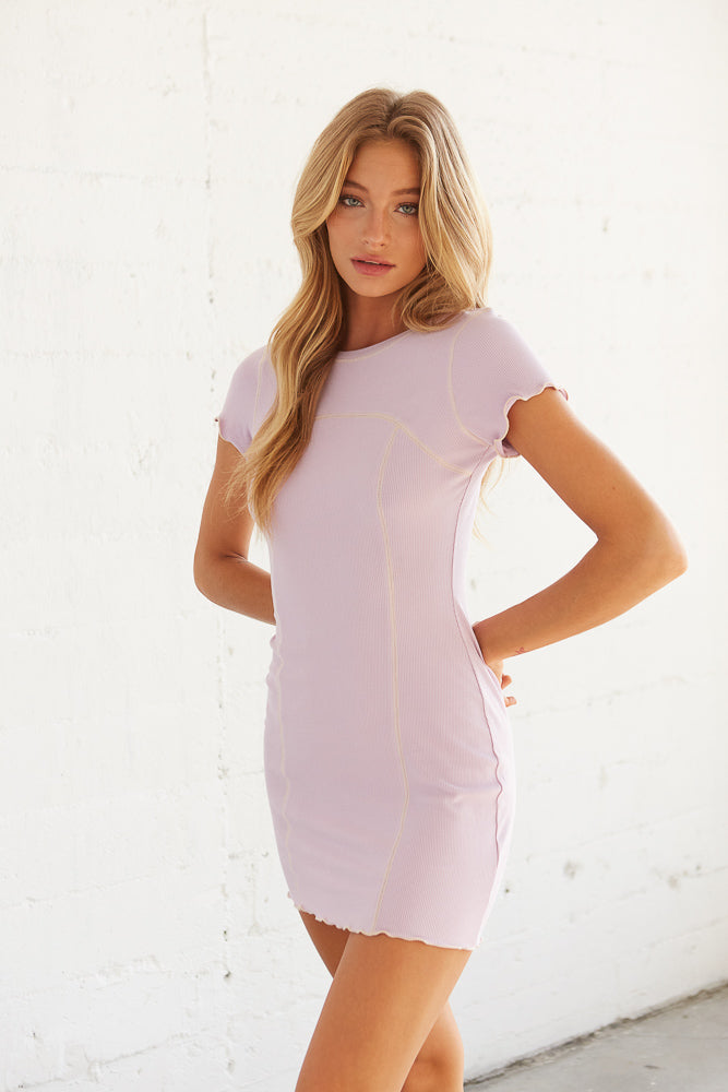Lilac ribbed mini dress.
