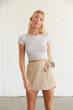 High waisted wrap skort with side tie detail.