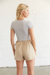 The back have shorts and an elastic waistband.