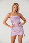 Satin mini dress with ruched body.
