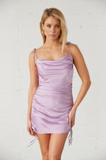 Lavender satin mini dress with cowl neckline.