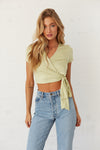 Lime green crop wrap top.