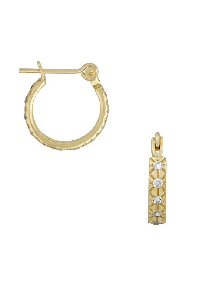 Details of small hoop earrings.