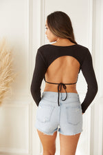 Open back top with adjustable tie detail.