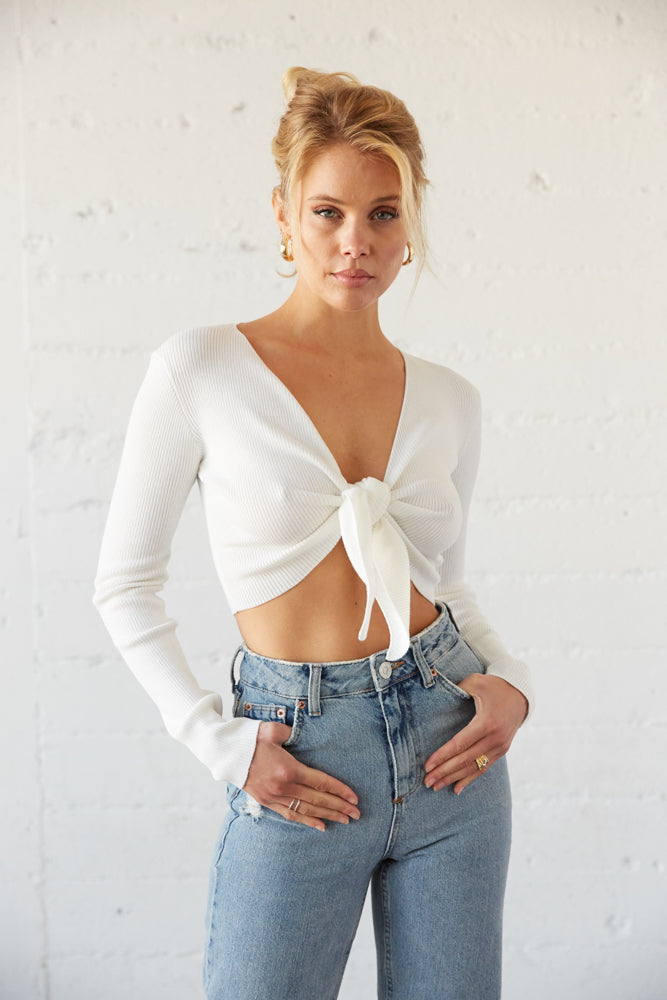 White tie front cropped sweater.
