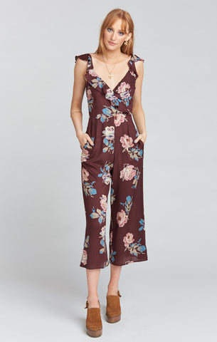 Mumu Bianca Jumpsuit In Chocolate And Roses Drape