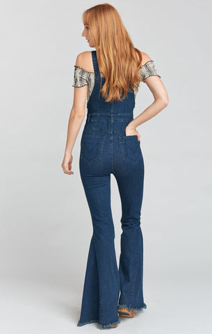Mumu Berkeley Bell Overalls In Dark Rainstorm