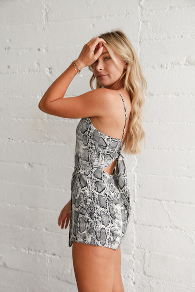 Effortless Snakeskin Wrap Romper