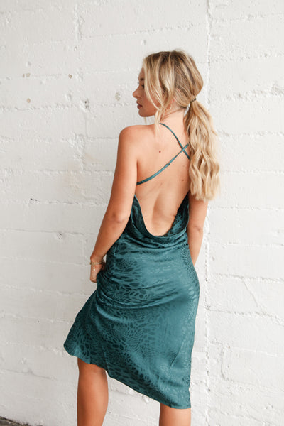 Native Daughters Crazy In Love Midi Dress In Hunter Green