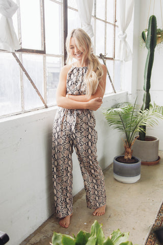 Native Daughters Gina Snakeskin Jumpsuit