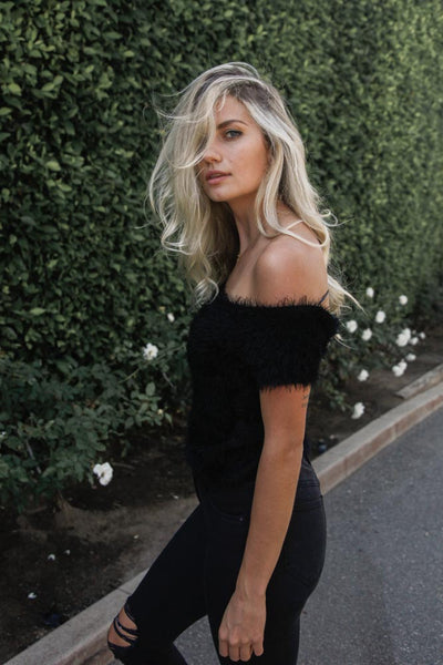 Mimi Fuzzy Off Shoulder Top