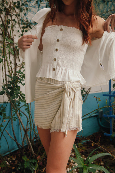Native Daughters Florence Striped Linen Skort