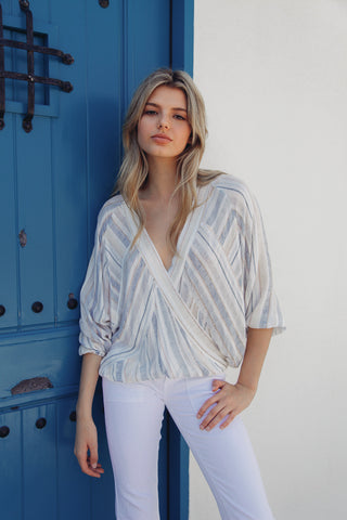 Kennedy Striped Wrap Top