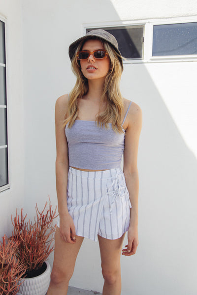 Payton Striped Wrap Skort