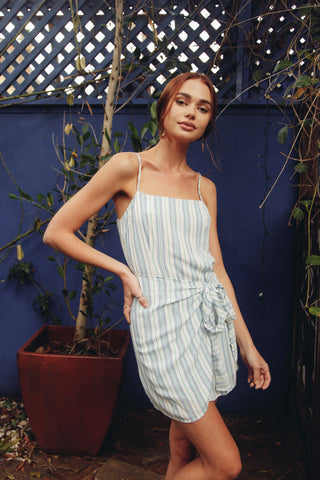 New Moon Striped Wrap Dress