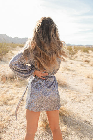 Starry Night Sequin Wrap Dress