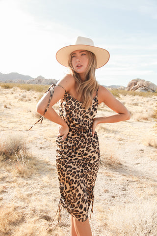 Stevie Leopard Satin Midi Dress