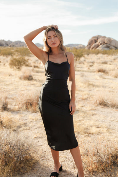 Native Daughters Kendall Satin Midi Dress