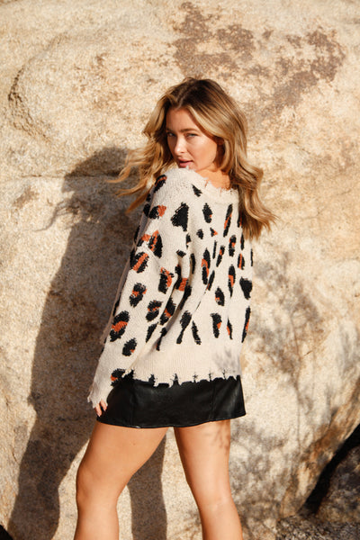 Courtney Distressed Leopard Sweater