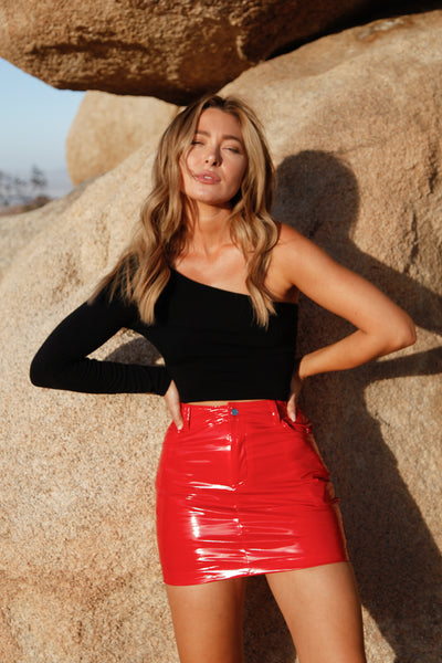 Late Night Patent Leather Skirt