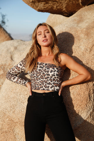 Brianna Cheetah One Shoulder Top