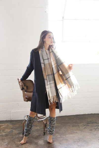 Cocoa Plaid Blanket Scarf