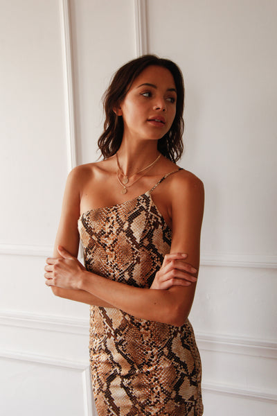 Bianca One Shoulder Snakeskin Dress
