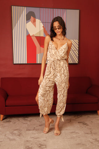Native Daughters Evelyn Snakeskin Jumpsuit