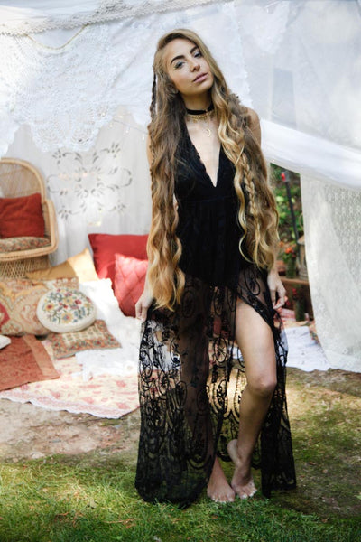 Reverse Stolen Nights Lace Maxi Dress