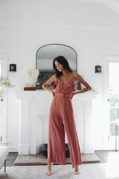Just Peachy Belted Jumpsuit