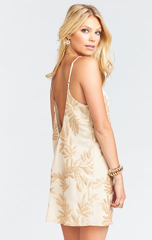 Mumu Vivienne Slip Dress in Golden Goddess Sparkle