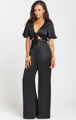 Mumu Jenna Jumpsuit in Black Sheen
