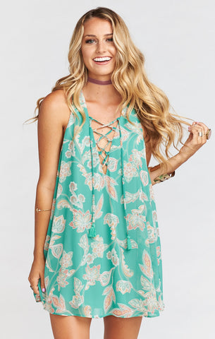 Mumu Rancho Mirage Lace Up Dress in Jadely Paisley