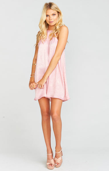 Mumu Gomez Mini Dress In Rosie Pink Sheen