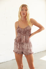 Smocked ruffle tank top.
