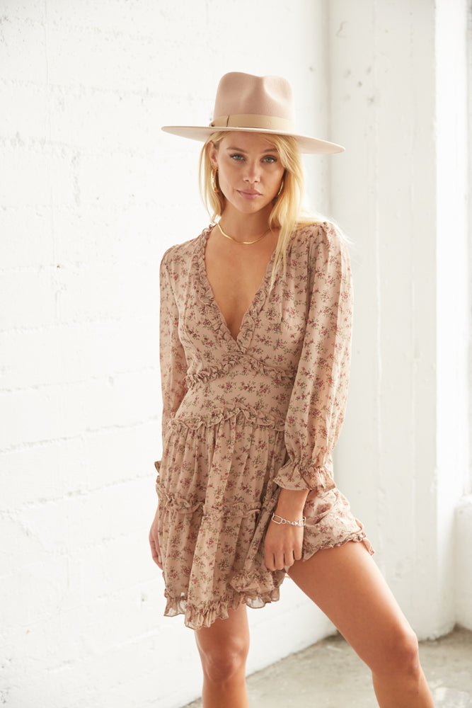 V neck mini dress with long sheer sleeves and ruffle trim.