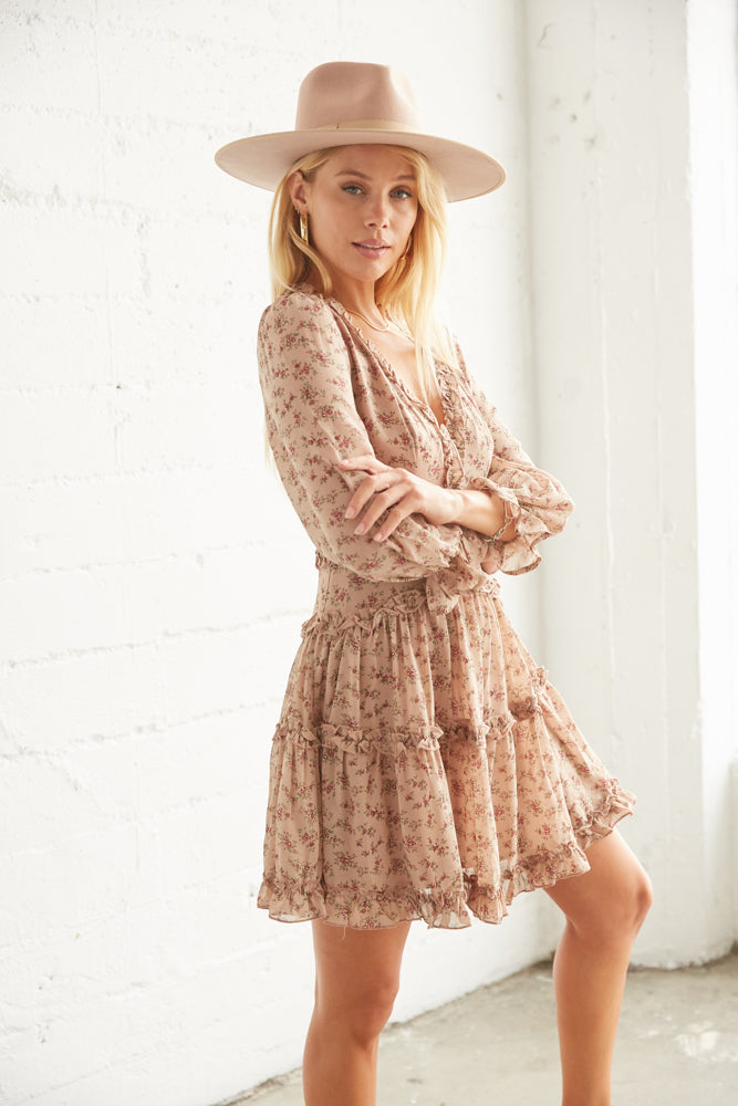 Flowy floral dress for a flattering look.