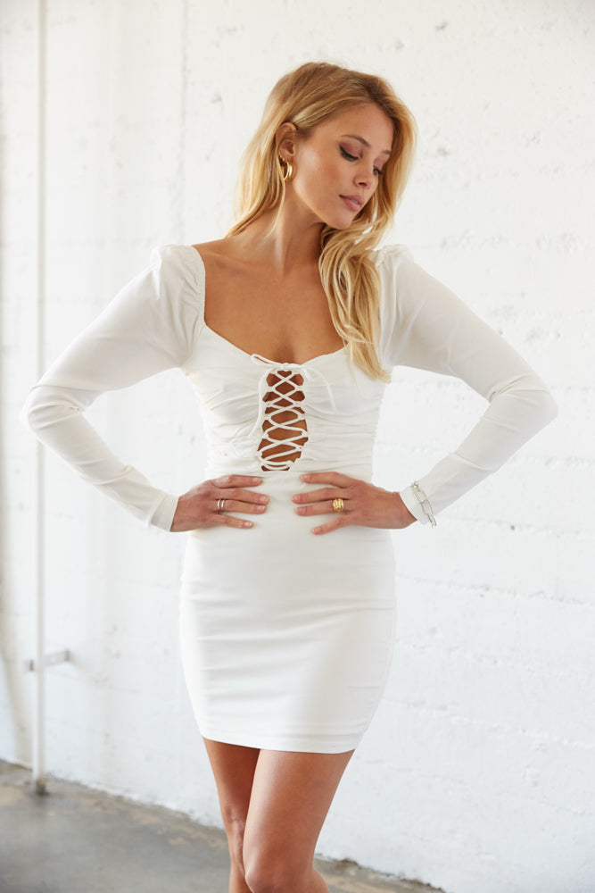 White lace up mini dress .