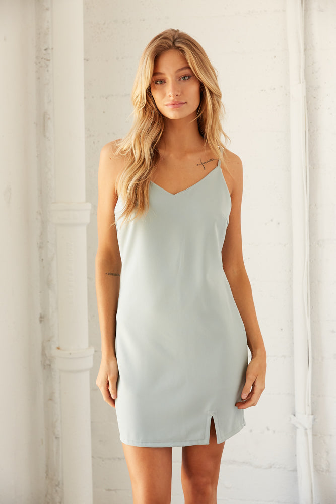 Sage blue mini dress.