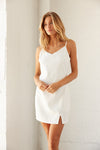 White V neck mini dress.