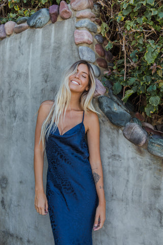 Native Daughters Crazy In Love Midi Dress In Navy