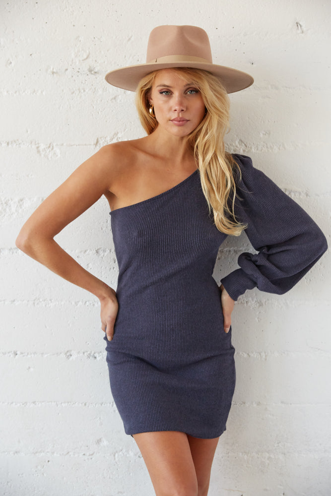 Navy one shoulder dress.