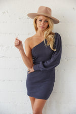 one shoulder sweater dress in navy.