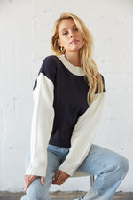 Navy and white mock neck sweater.