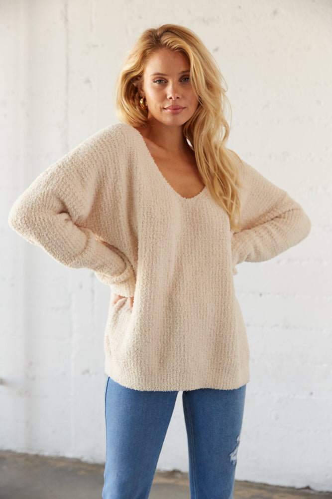 Slouchy oversized knit sweater.
