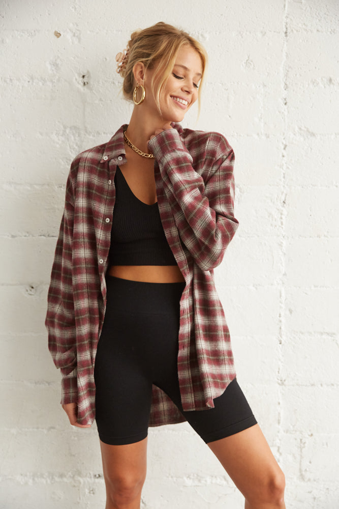 Burgundy oversized flannel
